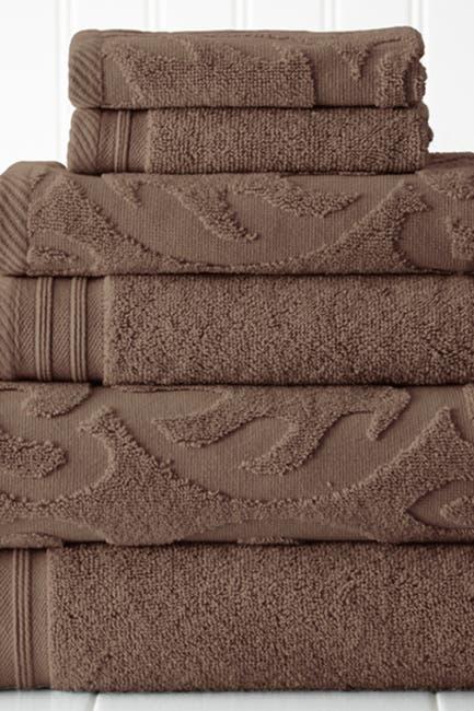 Image of Modern Threads Jacquard Medallion Swirl Solid 6-Piece Towel Set - Mocha