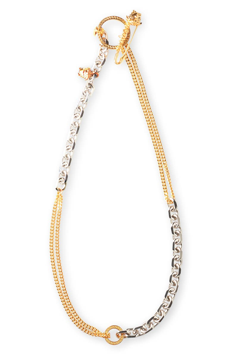 VERSACE Medusa Safety Pin Necklace, Main, color, 040