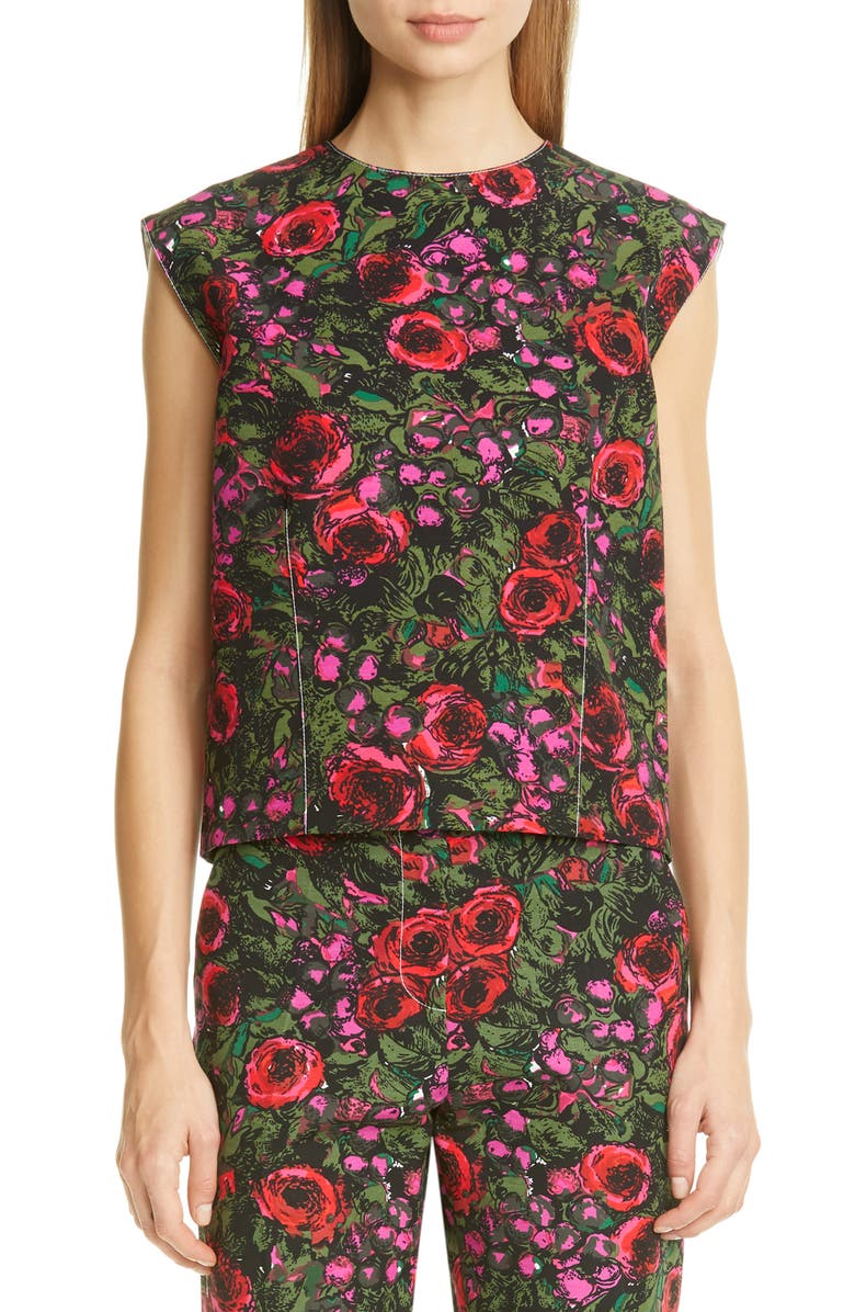 MARNI Amarcord Floral Print Faille Top, Main, color, AMC STARLIGHT PINK