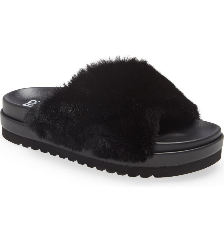 BP. Zoe Cross Band Faux Fur Slide Sandal, Main, color, BLACK