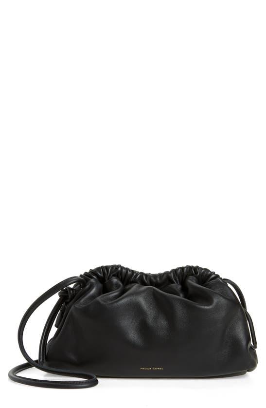 Mansur Gavriel Mini Cloud Leather Clutch In Black/ Flamma