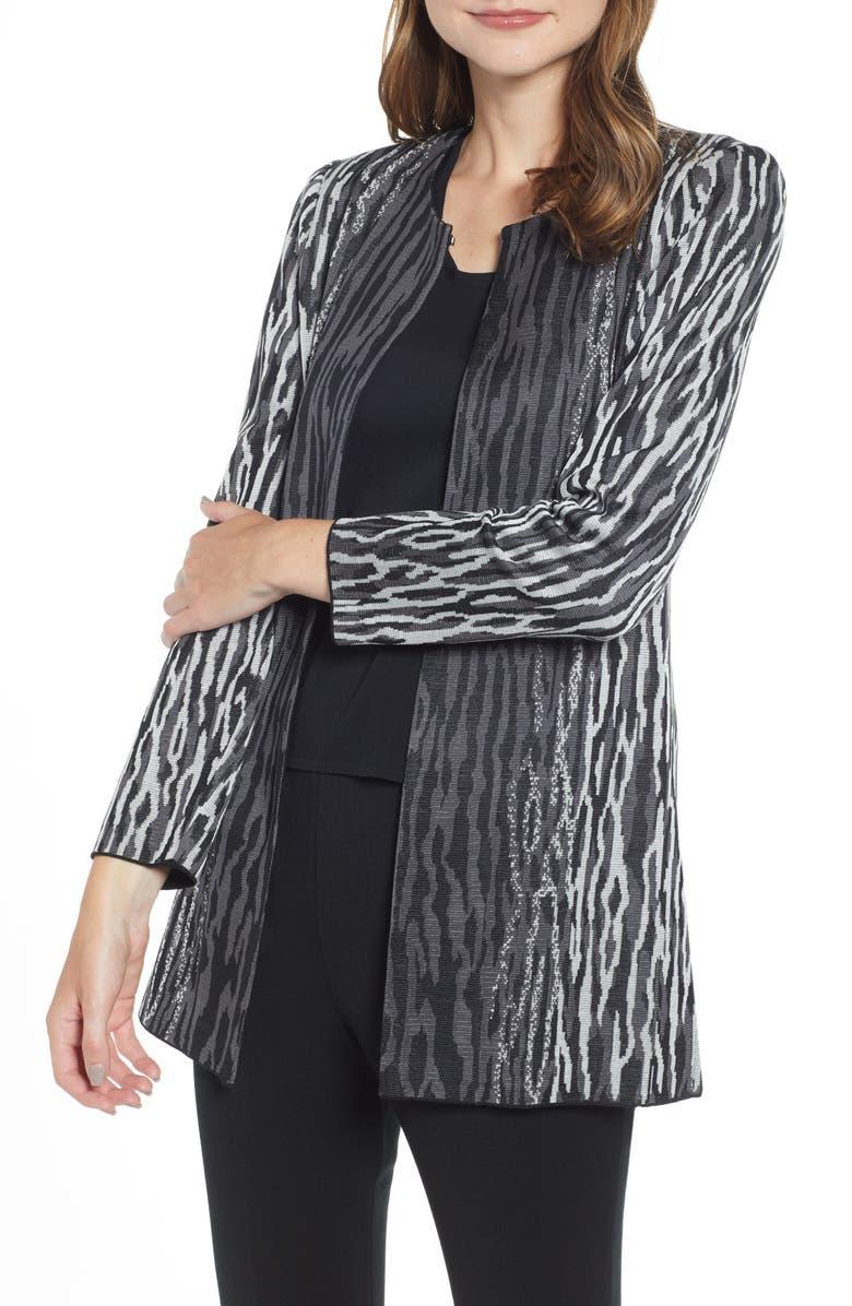 MING WANG Animal Knit Jacket, Main, color, 022