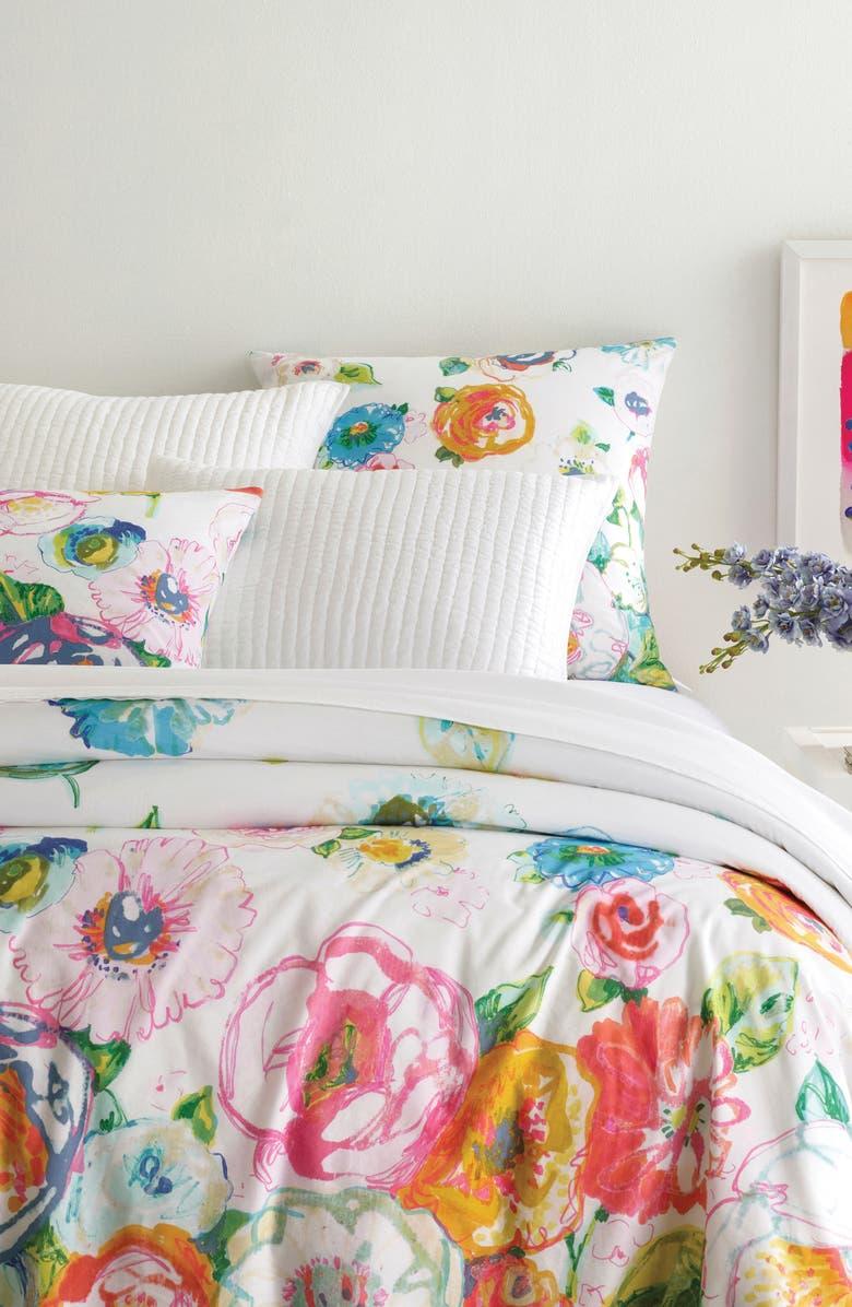 PINE CONE HILL Flower Shower Duvet Cover, Main, color, 100