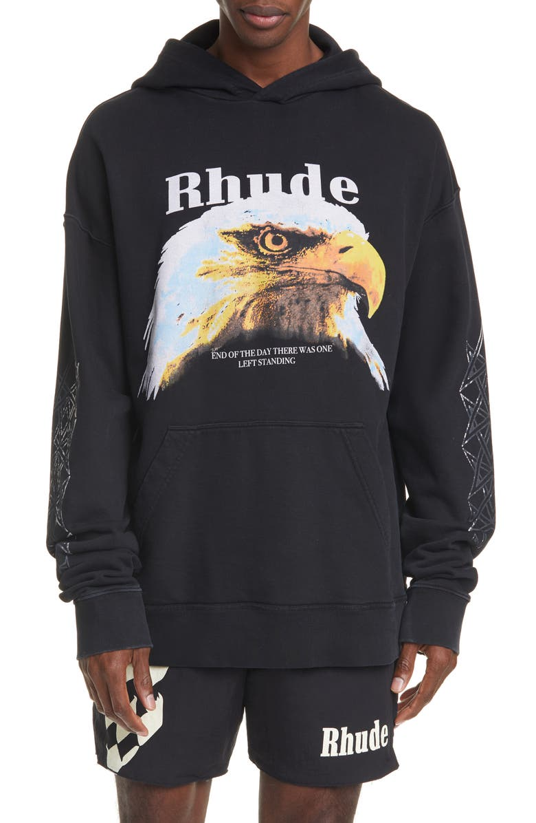 RHUDE Bald Eagle Graphic Hoodie, Main, color, 001