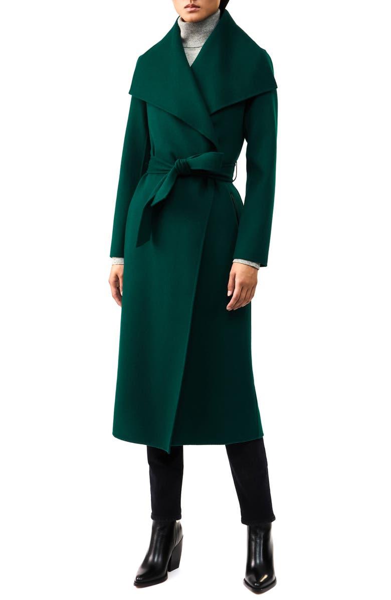 MACKAGE Mai-R Wool Wrap Coat, Main, color, GREEN