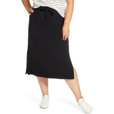 Plus Size Caslon Drawstring Side Slit Skirt, Black