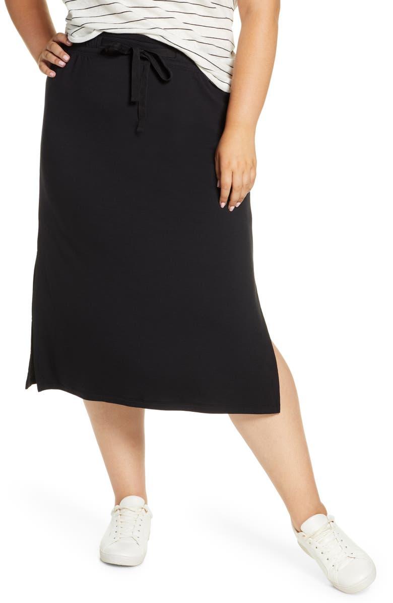 CASLON<SUP>®</SUP> Drawstring Side Slit Skirt, Main, color, BLACK