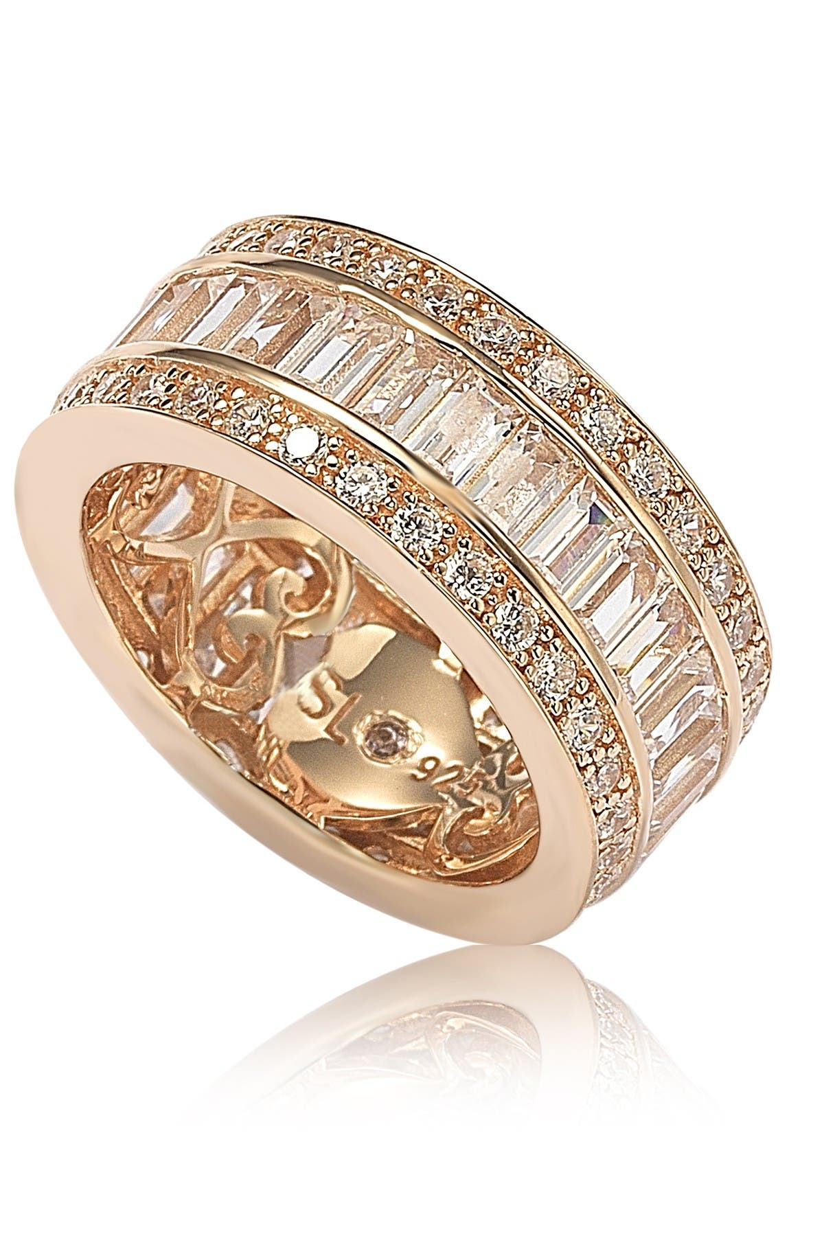 Image of Suzy Levian 14K Rose Gold Plated Sterling Silver Baguette-Cut & Round-Cut CZ Eternity Band