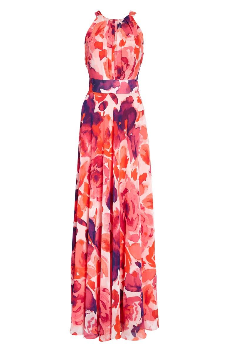 ELIZA J Floral Print Halter Maxi Dress, Main, color, PINK/ CORAL/ PURPLE