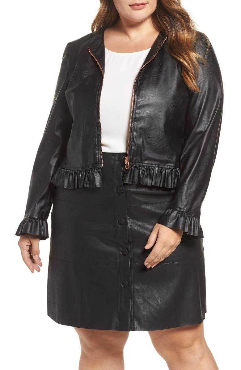 ELVI Faux Leather Frill Jacket, Main, color, 001