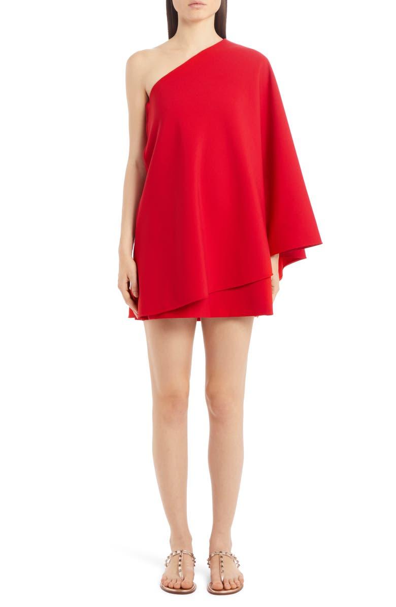 VALENTINO Double Comfort One-Shoulder Crepe Minidress, Main, color, 600