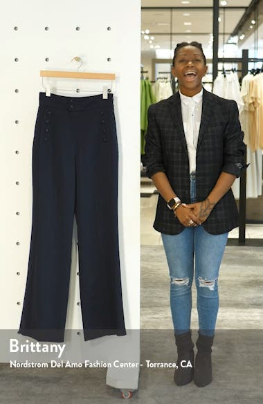Button Detail Wide Leg Trousers, sales video thumbnail
