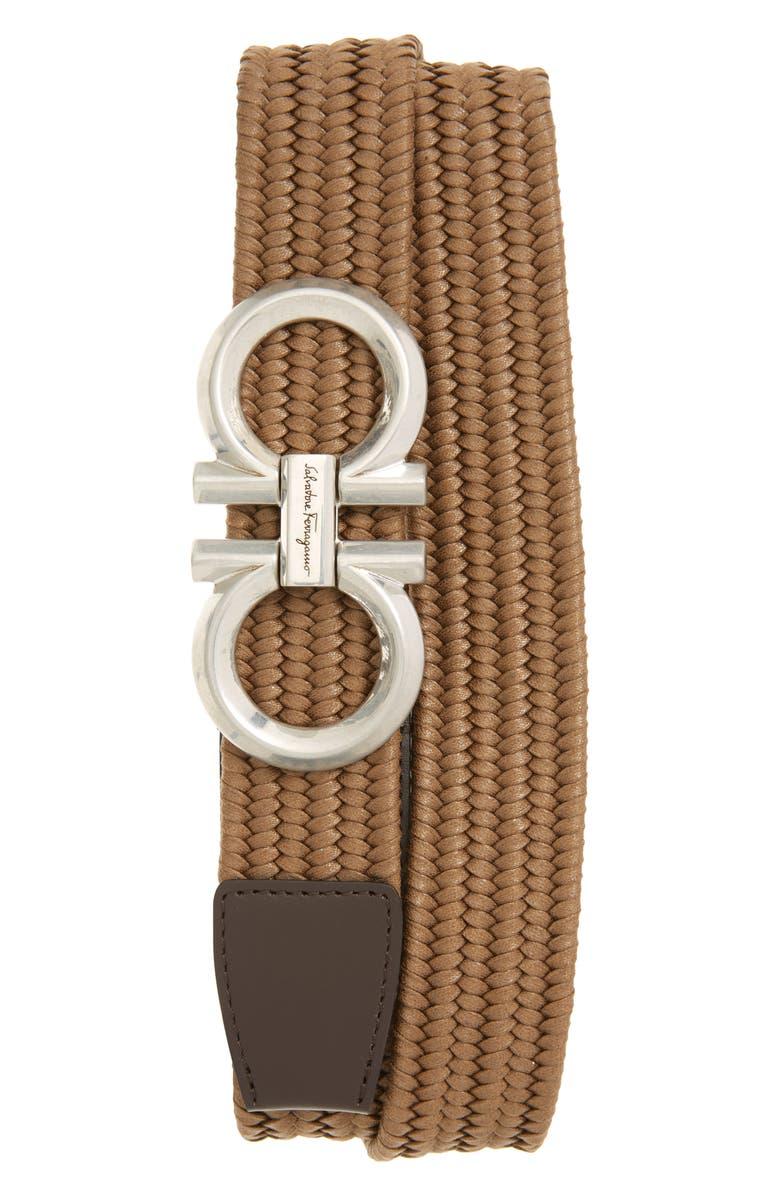 SALVATORE FERRAGAMO Elastic Web Belt, Main, color, NOCE