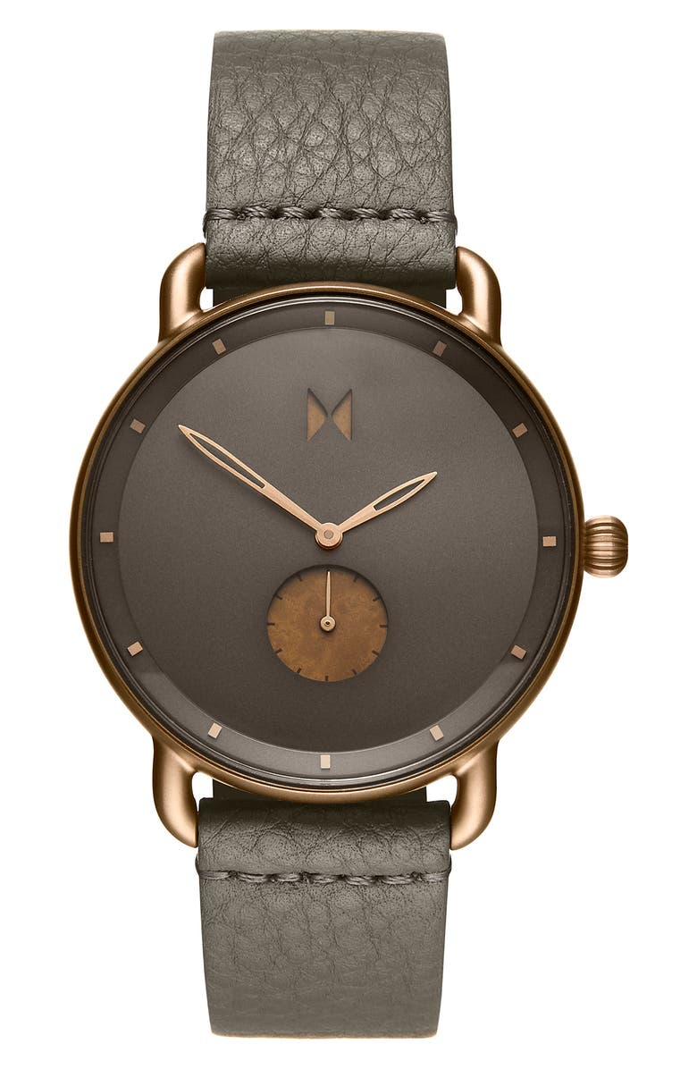 MVMT Revolver Leather Strap Watch, 41mm, Main, color, GREY/ BLACK/ ROSE GOLD