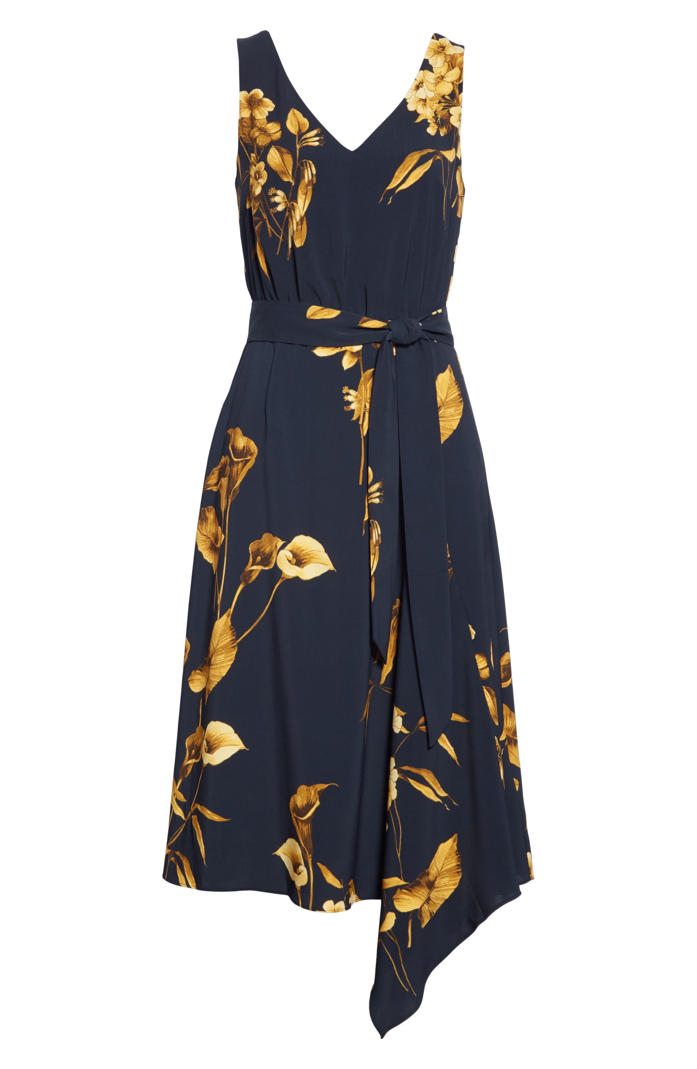 ,                             Ritta Floral Ruffle Midi Skirt,                             Alternate thumbnail 6, color,                             BLACK