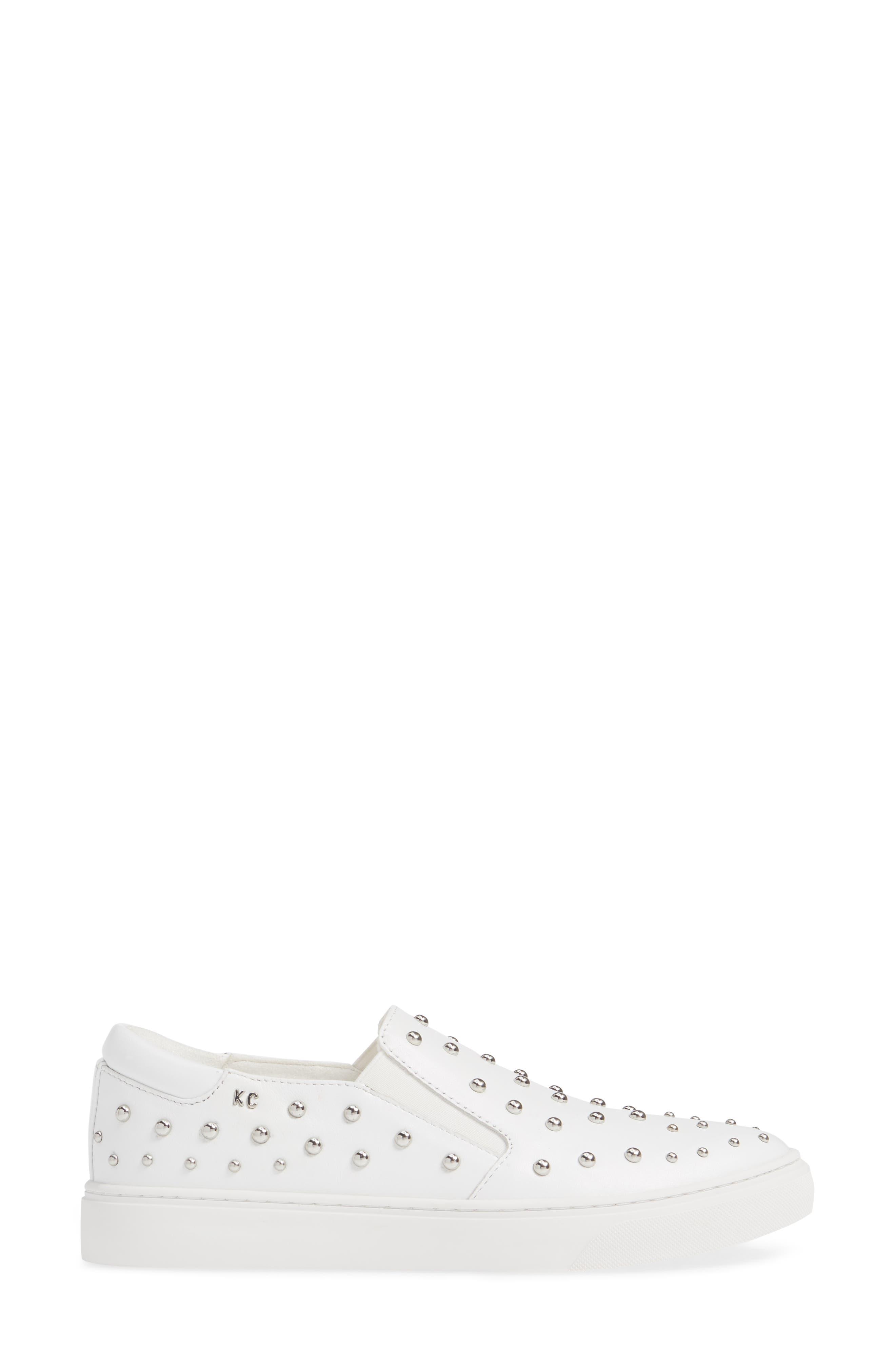 ,                             Mara Stud Slip-On Sneaker,                             Alternate thumbnail 3, color,                             WHITE LEATHER