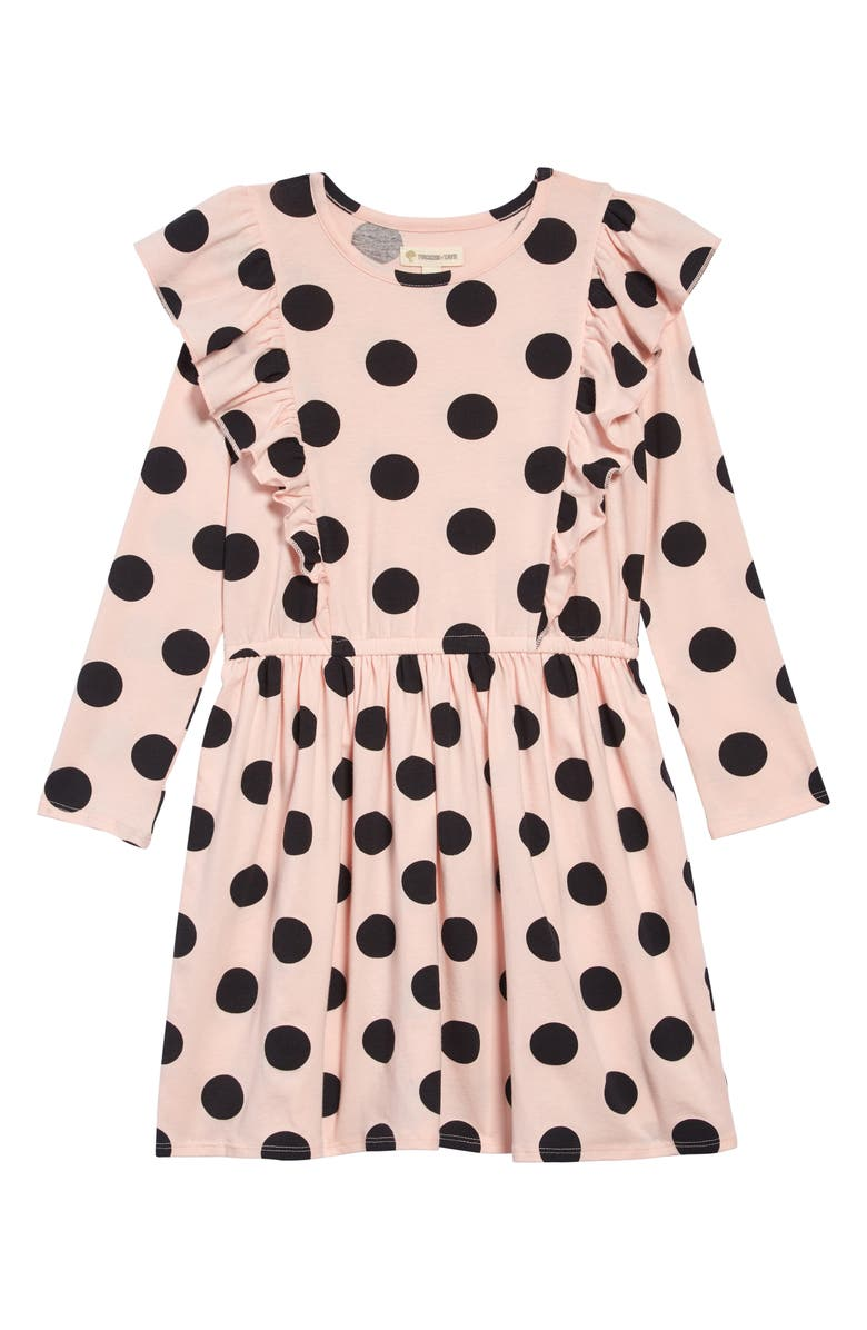 TUCKER + TATE Ruffle Long Sleeve Dress, Main, color, PINK ENGLISH DOT