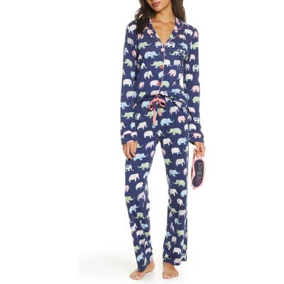 Pj Salvage Print Pajamas With Eye Mask, Blue