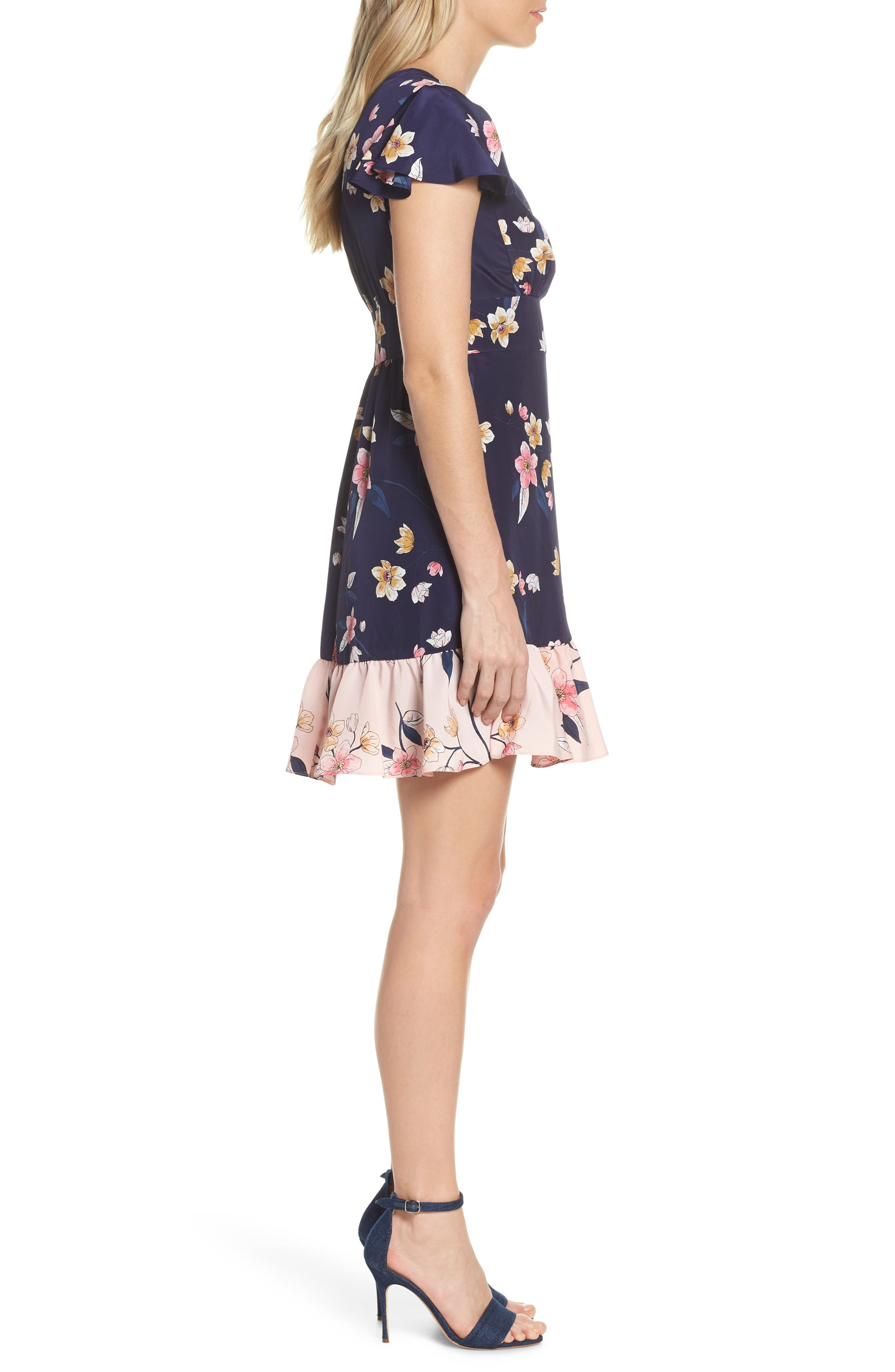 ,                             Ruffle Faux Wrap Dress,                             Alternate thumbnail 4, color,                             NAVY/ MULTI