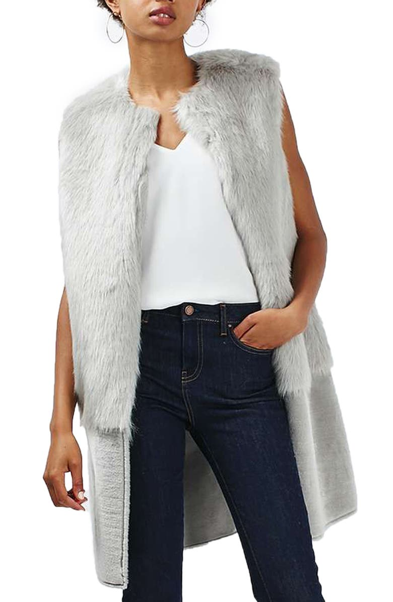 TOPSHOP Faux Fur Vest, Main, color, 050