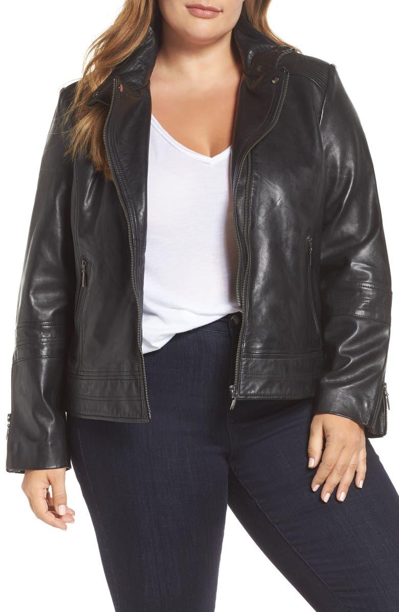 BERNARDO Lambskin Leather Moto Jacket, Main, color, 001