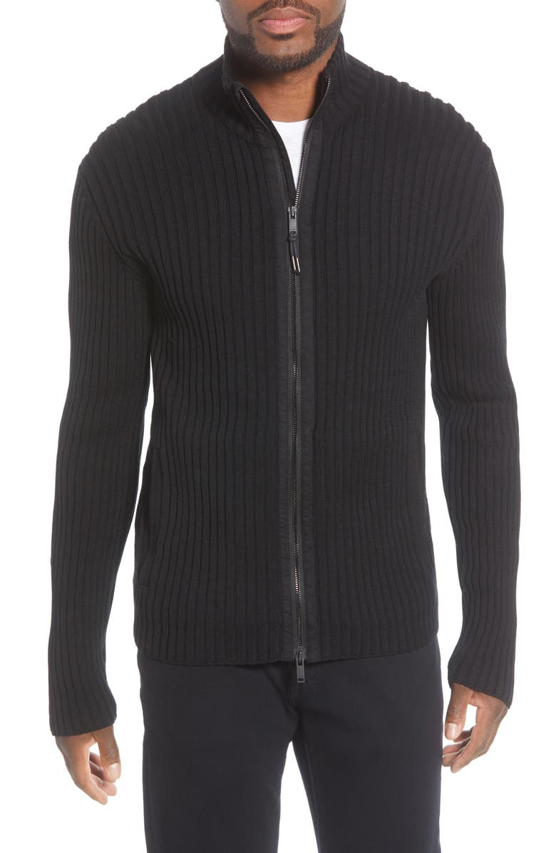 JOHN VARVATOS STAR USA Lincoln Ribbed Zip Front Mercerized Cotton Sweater, Main, color, BLACK
