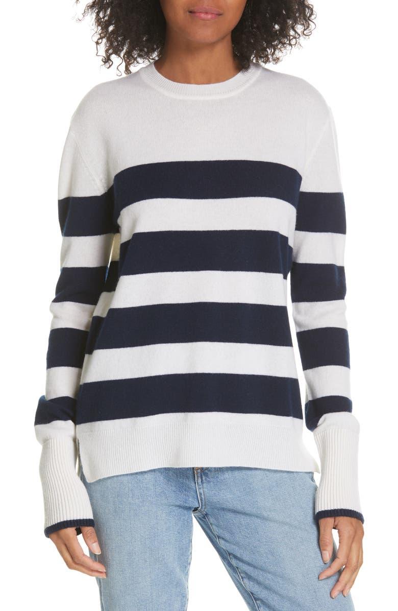 LA LIGNE Candy Stripe Sweater, Main, color, CREAM/ NAVY STRIPES