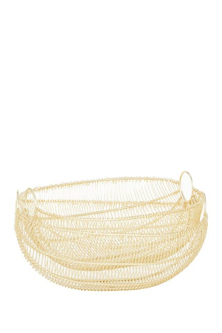 Image of Willow Row Gold Metal Contemporary Decorative Bowls 2-Piece Set