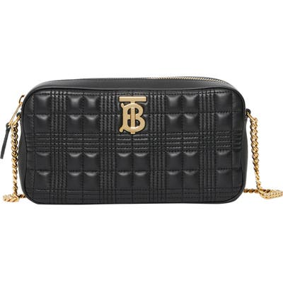 Burberry Tb Quilted Check Leather Camera Crossbody Bag - Black