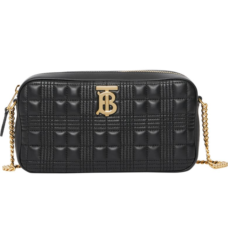 BURBERRY TB Quilted Check Leather Camera Crossbody Bag, Main, color, BLACK