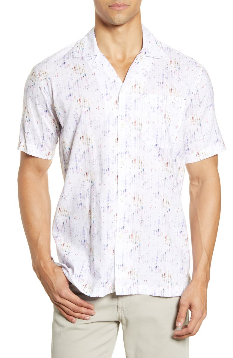 BUGATCHI Shaped Fit Short Sleeve Button-Up Camp Shirt, Main, color, 400
