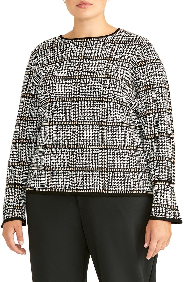 RACHEL ROY COLLECTION Plaid Flare Sleeve Wool Blend Sweater, Main, color, CAMEL COMBO