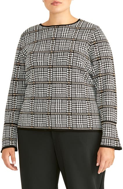 Image of RACHEL ROY COLLECTION Plaid Flare Sleeve Sweater