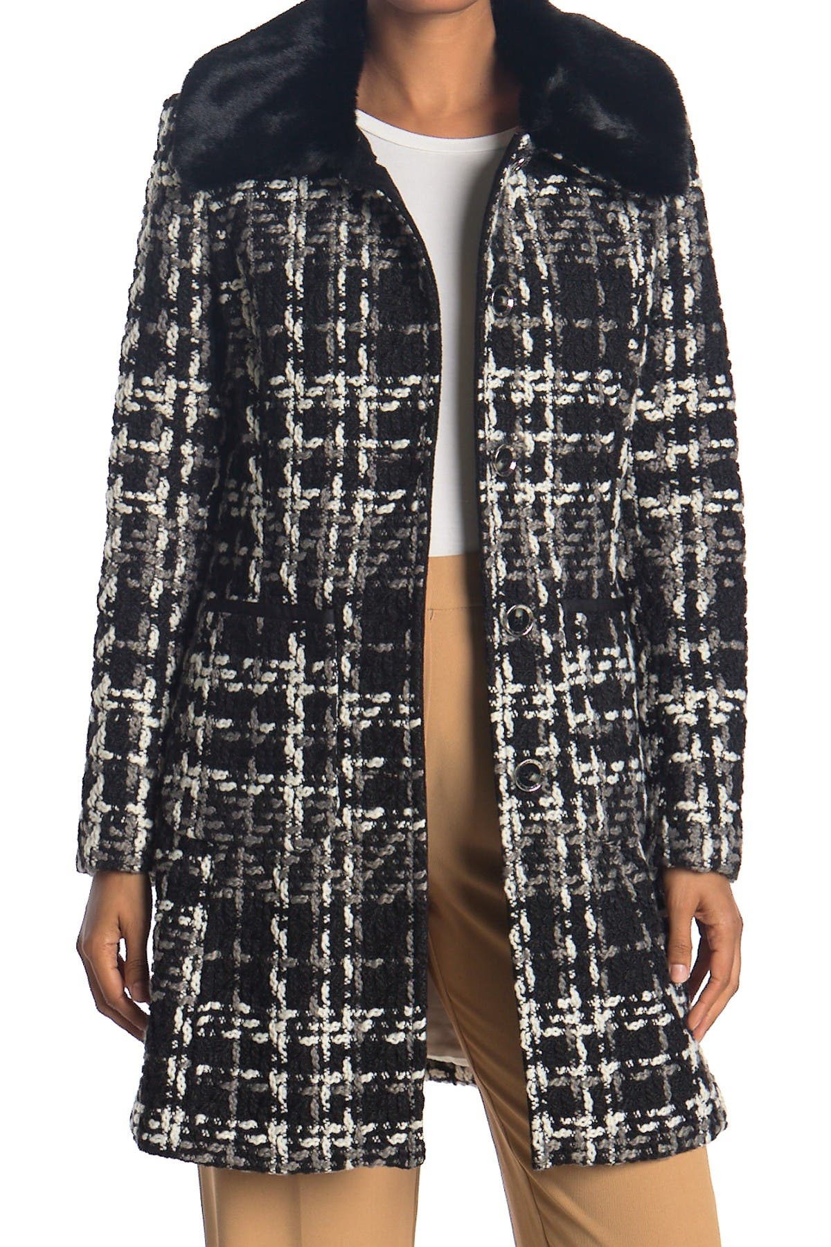 Image of Laundry By Shelli Segal Basket Weave Faux Fur Wool Jacket