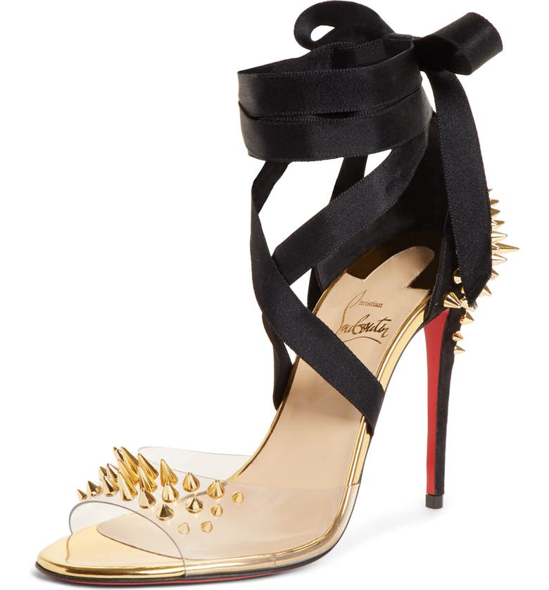 CHRISTIAN LOUBOUTIN Barbarissima Spike Ankle Strap Sandal, Main, color, GOLD/ BLACK