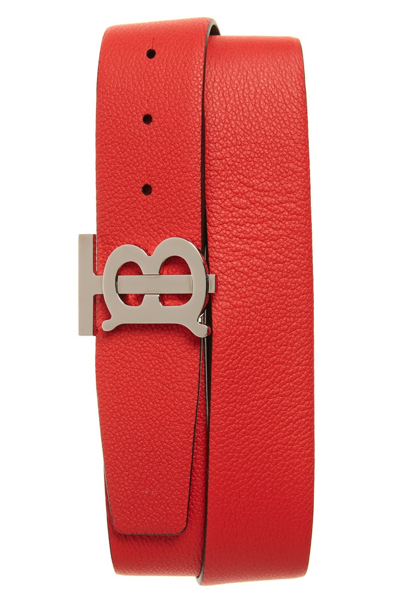BURBERRY TB Monogram Reversible Leather Belt, Main, color, BRMILITARY RED/BLACK