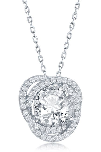 Image of Simona Jewelry Sterling Silver Round-Cut CZ Halo Flower Pendant Necklace