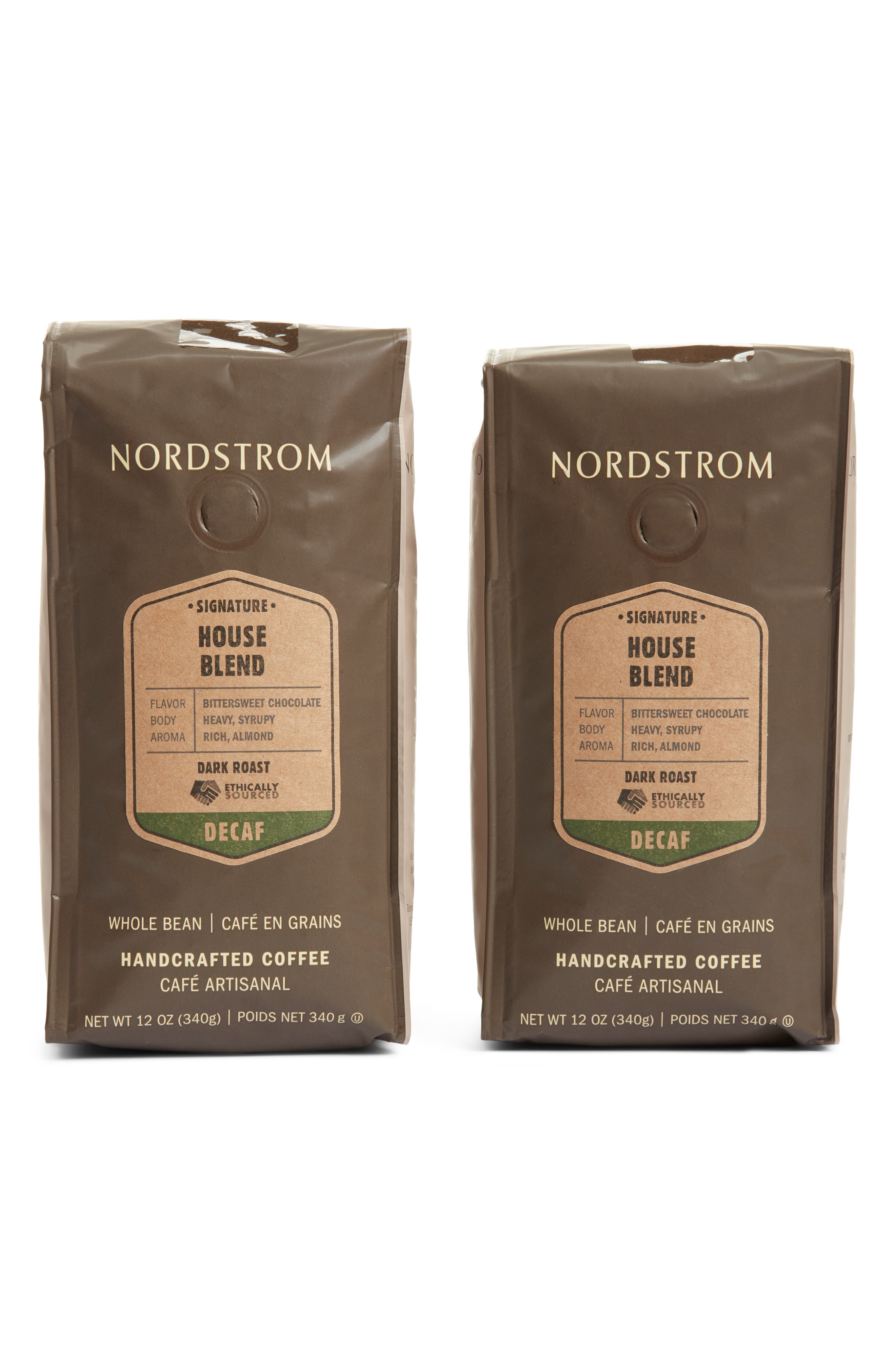 Ethically sourced from the world\\\'s premier coffee-growing regions, this decaf dark-roast blend features hints of bittersweet chocolate and stone fruit. Cupping notes:- Roast: dark- Flavor: bittersweet chocolate- Body: heavy, syrupy- Aroma: rich, almond. Style Name: Nordstrom Ethically Sourced Decaf House Blend 2-Pack Whole Bean Coffee. Style Number: 5864316. Available in stores.