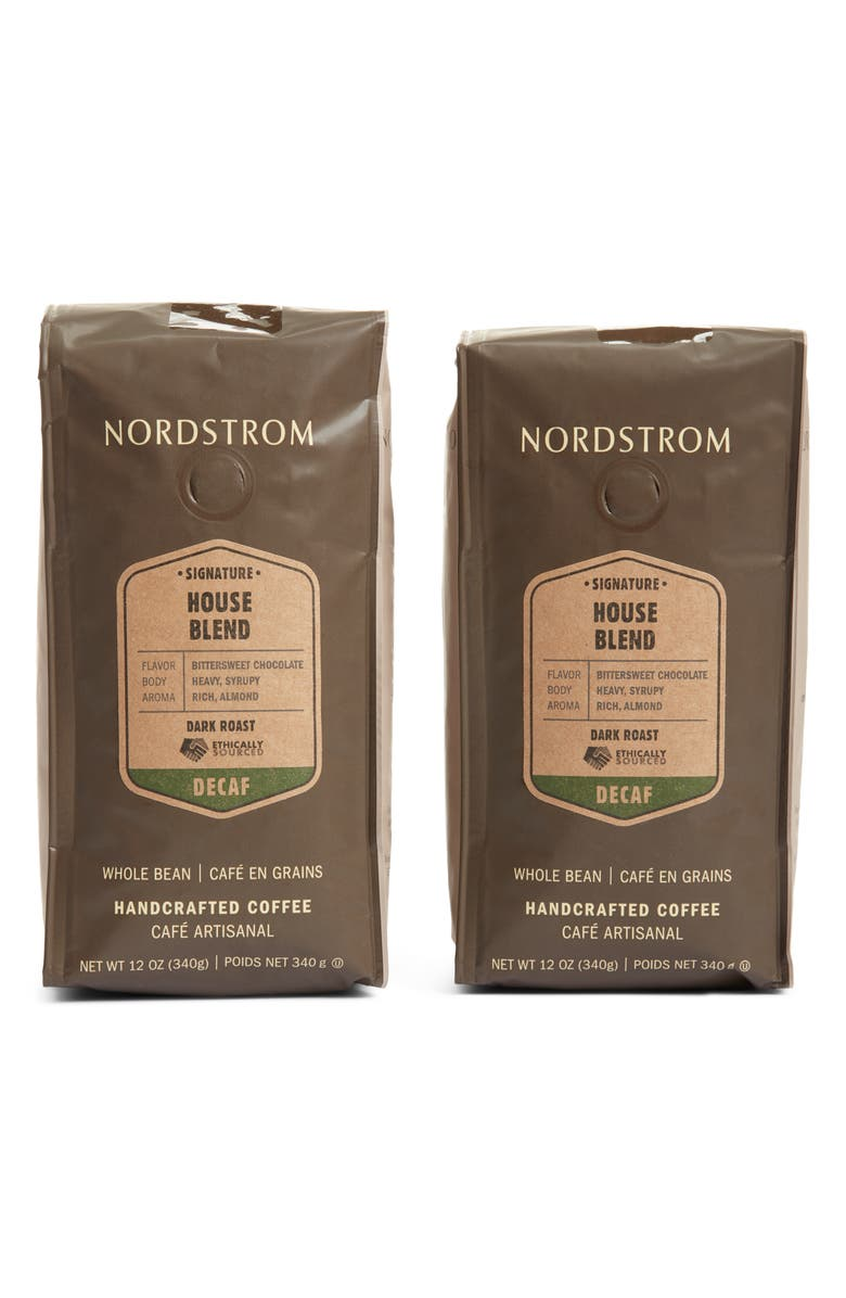 NORDSTROM Ethically Sourced Decaf House Blend 2-Pack Whole Bean Coffee, Main, color, BROWN