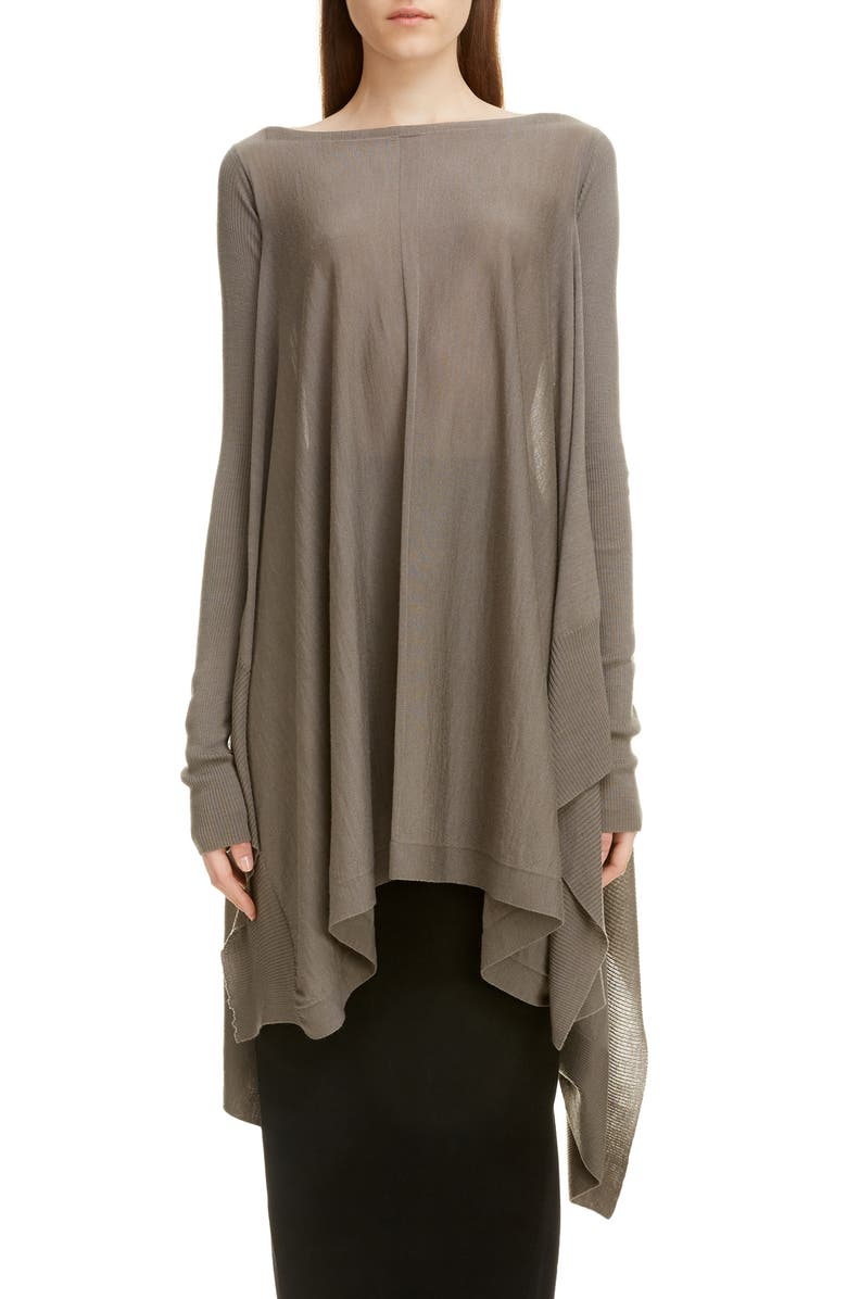 RICK OWENS Wool Poncho Sweater, Main, color, DUST