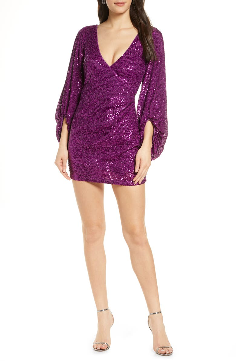 ONE33 SOCIAL Balloon Sleeve Sequin Cocktail Minidress, Main, color, ORCHID