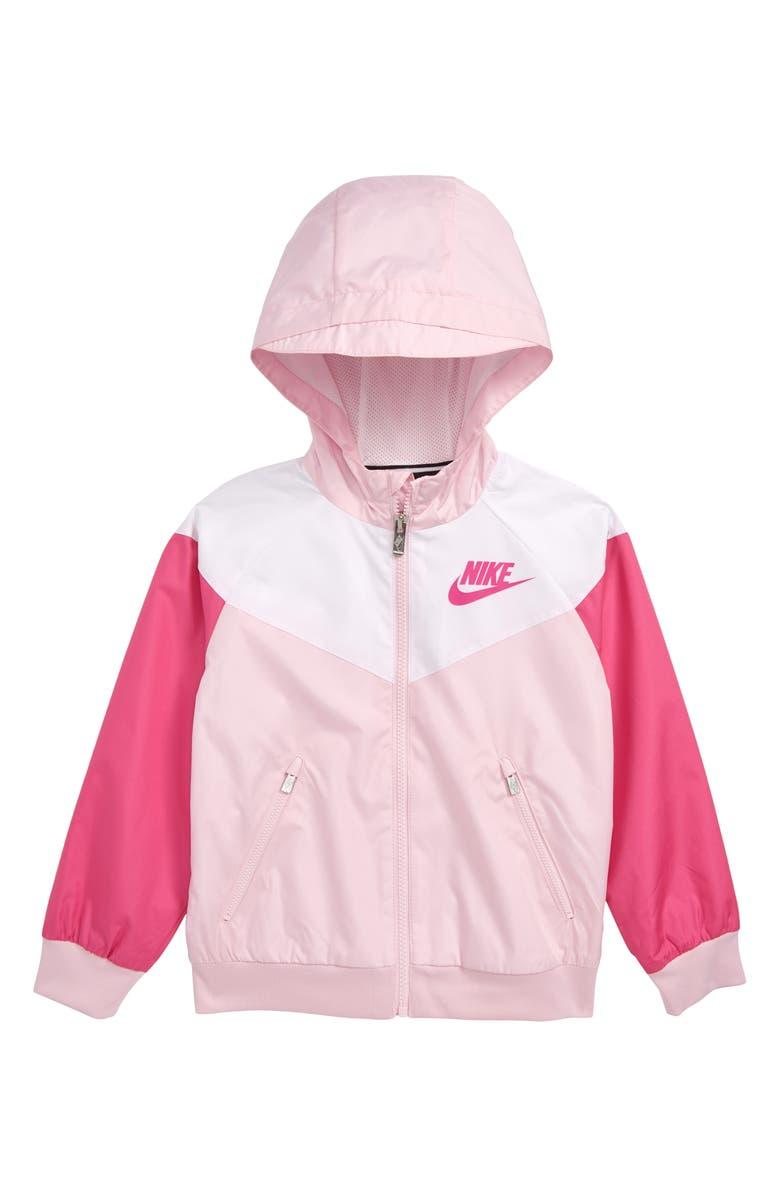 NIKE Windrunner Hooded Zip Jacket, Main, color, PINK FOAM