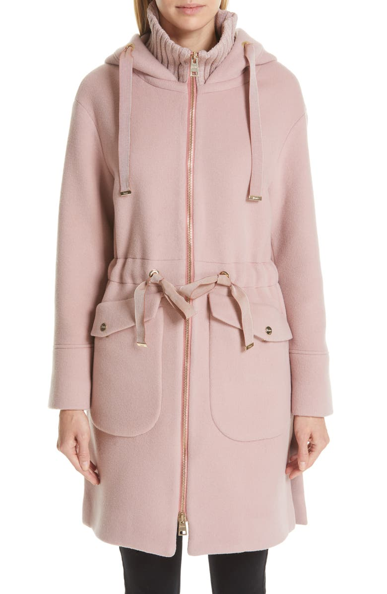 HERNO Grosgrain Trim Wool & Cashmere Coat, Main, color, PINK