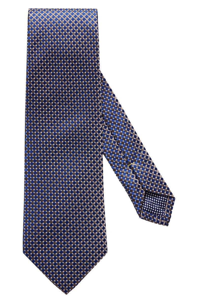 ETON Microdot Silk Tie, Main, color, BROWN