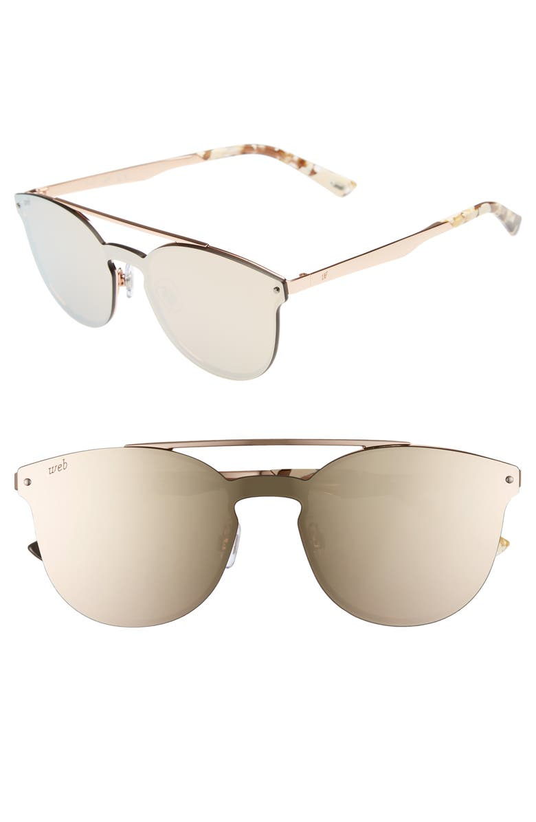 WEB 55mm Cat Eye Metal Shield Sunglasses, Main, color, 710