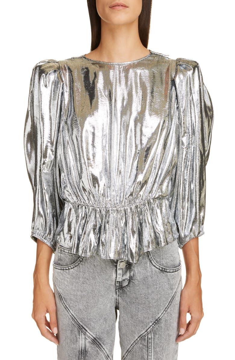 ISABEL MARANT Metallic Silk Reversible Top, Main, color, 040
