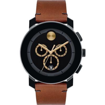 Movado Bold Chrono Leather Strap Watch, 4m