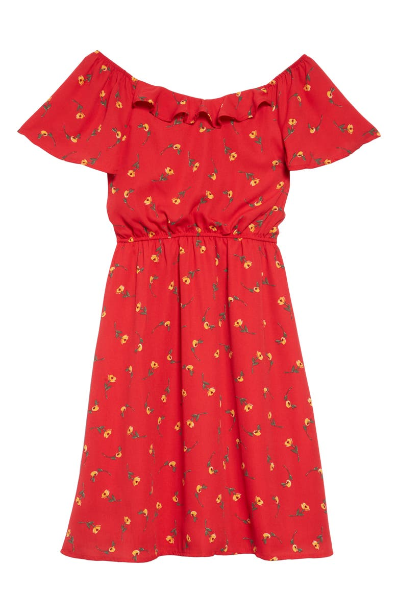 TRIXXI Ditsy Floral Print Off the Shoulder Dress, Main, color, RED