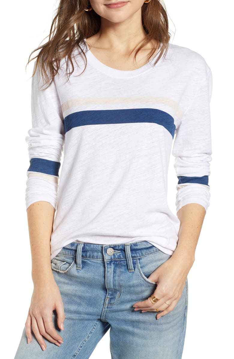 TREASURE & BOND Varsity Stripe Knit Top, Main, color, 100