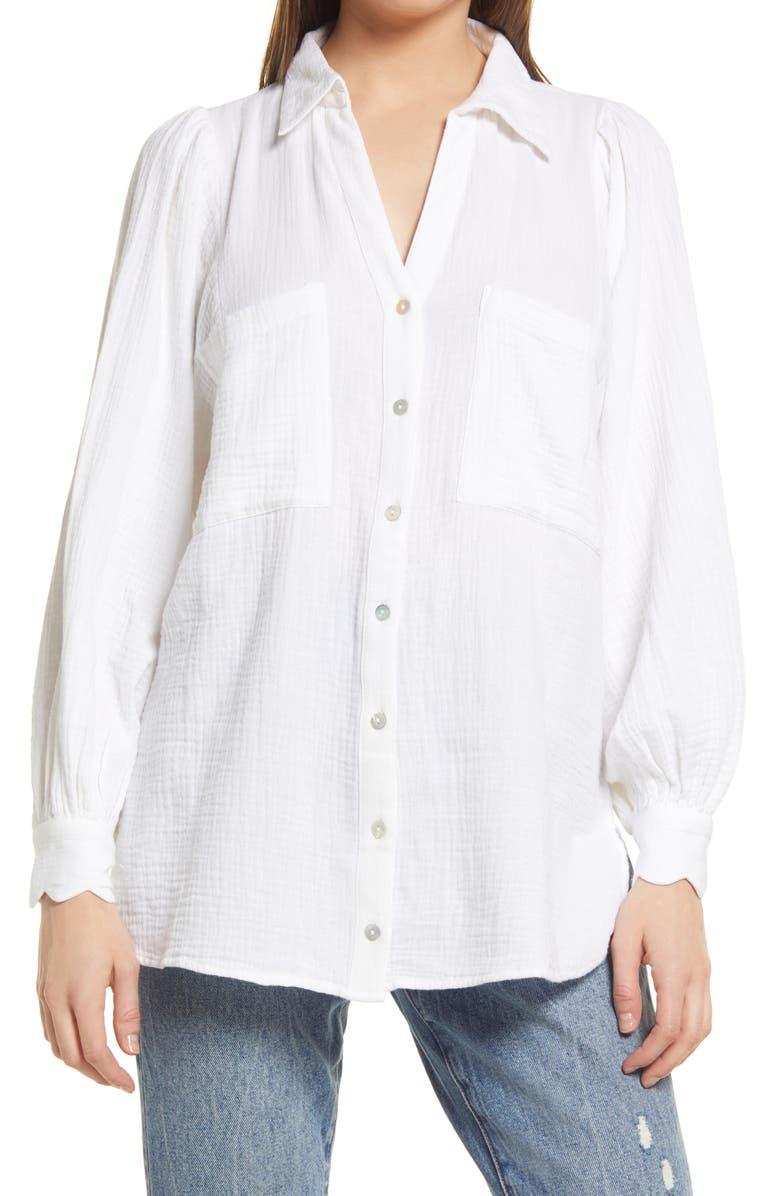TOPSHOP Cotton Gauze Button-Up Shirt, Main, color, WHITE
